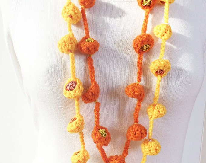 """Wool necklace with 2 laps - Long knitted necklace - wool """"nests"""" - wool jewelry"""
