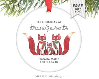 Grandparent Ornament Christmas, Grandmother Christmas Ornament Gift, 1st Christmas as Grandparents Fox Ornament for Grandma and Grandpa Gift