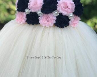 Navy Blue and Pale Pink Flower Girl Tutu Dress/ Navy Blue Pink Flower Girl Dress/ Navy Blue Flower Girl Dress/ Pink Flower Girl Dress