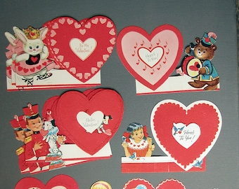 vintage 1960s valentine's day greeting cards with cute animal and people characters and flock finish hearts - unused - ONE card per price
