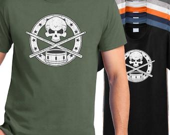 Drummer T-Shirt, drummers skull crossbones shirt, drumming tee shirt, snare drum shirt, percussionist t shirt, marching band drummer shirt