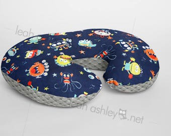 Boppy® Cover, Nursing Pillow Cover - Navy Monsters MINKY with Gray MINKY Dot OR Choose Your Minky Dot Color - BC3