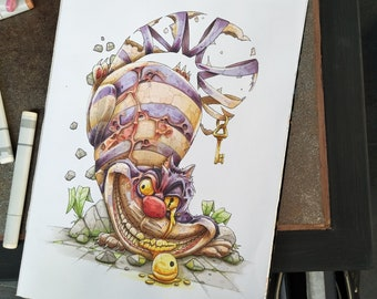 Alice in Wonderland, Follow the Cheshire cat, a Copic markers original illustration (collection 2018)