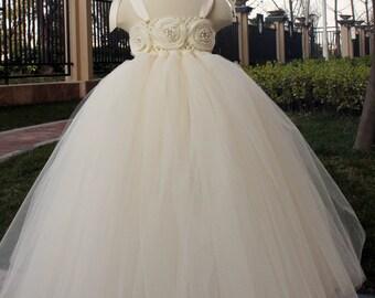 Flower Girl Dress Ivory tutu dress baby dress toddler birthday dress wedding dress 2T 3T 4T 5T 6T