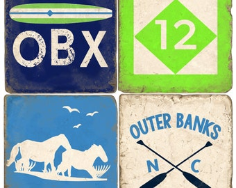 Outer Banks Italian Marble Coasters (set of 4)