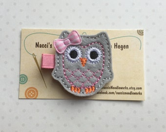 Felt Hair Clip- Grey and Pink Owl with Pink Gingham Bow Hair Clip- Felt Hair Clips