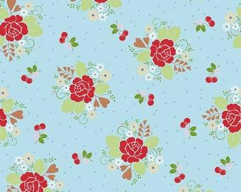 18 Yards in Stock - Riley Blake - Sew Cherry 2 - Sew 2 Main Aqua by Lori Holt - 100% Cotton