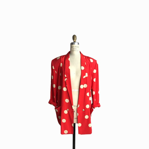 Vintage 80s Silky Red Polka Dot Jacket / 80s/90s Oversized Jacket / Red & White Polka Dots - women's medium/large