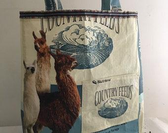 Recycled Alpaca Llama Feed Sack Tote Bag