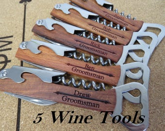 Engraved Wine Bottle Opener - Wood Wine Opener - Beer Bottle Opener - Custom Corkscrew – Personalized Groomsmen Gift - Wedding Party Gifts