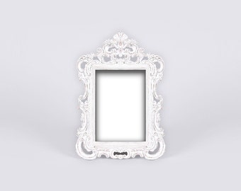 White Ornate Baroque Frame, Antique Picture Frame, Shabby Chic Wedding Frame, Parisian Style, Versailles Decor, French Cottage, Paris Chic
