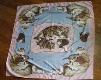 1980's Novelty Cat Print Scarf