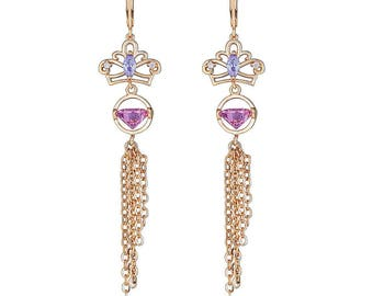 Queen's Royal Pink Diamond Earring with Fancy hanging gold filled chains