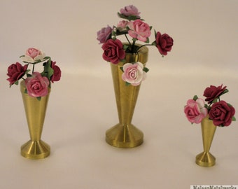 Miniature Solid Brass Vases, Exceptionally Handcrafted Gift