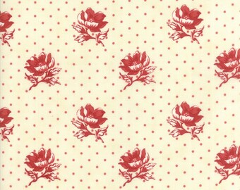 FARMHOUSE REDS - Floral Polka Dots Farmhouse Natural - Ivory Red - #14851-13 - One Half Yard - Minick & Simpson - Moda - Reproduction