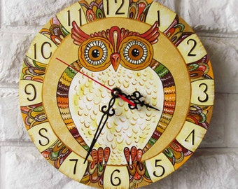 Brown Owl  Wall Clock, Home Decor for Children, wall clocks handmade