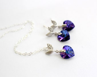 Heart Swarovski Necklace and Earrings Set Purple Heart Jewelry Set for Bridesmaids Flower Girl Gift Set for Women Sterling Silver Jewelry