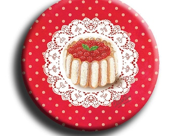 Magnet magnet round with a charlotte red Strawberry on white lace bottom and bottom red dots