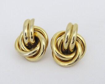 Vintage Jewelry Gold Tone Swirly Earrings