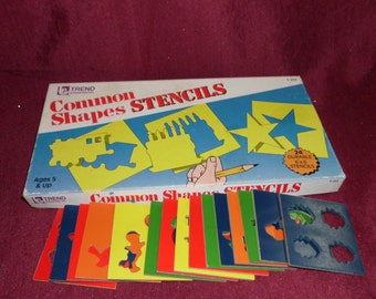 55 Pieces Stencils Shapes Vintage 40 Tagboard Shapes and Stencils 15 Fiberboard Stencils