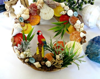 Tropical Seashell Wreath _Parrot beach wreath_coastal decor_beach home decor