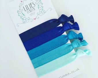 Blue hairbands, elastic hair ties, 5 ponytail holders, stretchy bracelets, gentle hair bands, hair ribbons, school hairties, yoga wristbands