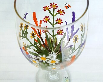 Hand painted wildflower garden wine glasses