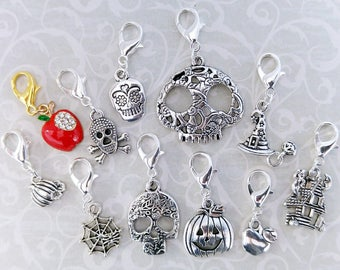 Halloween theme stitch markers and progress keepers for crochet and knitting. Choose sets or individual markers or make your own set!
