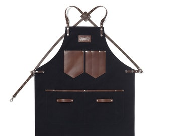 Barista Apron, Black Canvas with Dark Brown Leather Strap Apron by KustomDuo