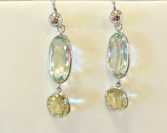 Green Amethyst and Lemon Quartz Sterling Silver Earrings