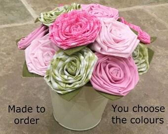 Cotton flowers, fabric flowers, cotton bouquet, 2nd wedding anniversary, 2nd anniversary flowers, flowers for mum, flowers gift, cotton gift