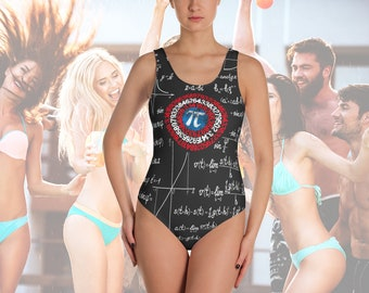 Captain Pi Math Swimsuit, Nerdy Geeky Math Teacher Gift, Science Shield Captain America Parody, Funny Mathematics Nerd One-Piece Swimsuit