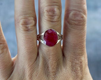 Genuine Faceted Ruby 925 Sterling Silver Ring- Size 8- July Birthstone- Birthday Gift- Gift for Her