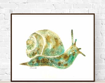 Original snail painting-A5-animal painting-Khadi paper-Animal illustration-original painting ZenWatercolors-Green and blue art