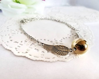 The Golden Snitch HP Quidditch Simple Dainty Bracelet Silver