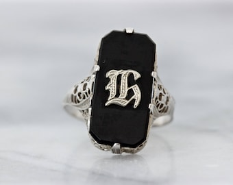 Antique Black Onyx Ring | H Monogram Ring | Art Deco Filigree Ring | Floral 14k White Gold Ring | Letter Jewelry | Estate Rings | Size 6+