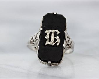 Antique Black Onyx Ring | H Monogram Ring | Art Deco Filigree Ring | Floral 14k White Gold Ring | Letter Jewelry | Estate Rings | Size 6+
