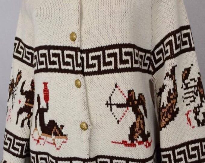 Vintage 1970's ZoDiaC Horoscope AsTroLoGiCaL HiPPiE AsTroLogY Knit Belled Sleeve Sweater Cape