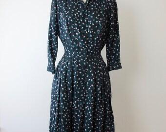 1950s Silk Floral Shirt Dress