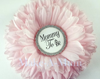 Hand-dyed PEONY PINK Baby Shower corsage, Baby shower favor, Mommy To Be Pin, Girl baby shower,pEONY PINK/mTB/pAPER