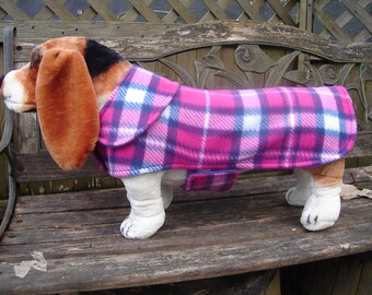 Dog Jacket-Navy and Pink Plaid Fleece Coat - Size Medium - 16 to 18 Inch Back Length