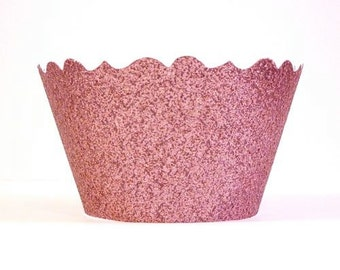 Glitter Princess Pink Cupcake Wrappers - Includes 12 Cupcake Wrappers