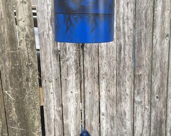 Cobalt Blue and Black Leaf Patterned  Metalwork Wind Chime /Bell