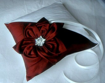 Agnes burgundy and ivory dupioni silk ring bearer pillow