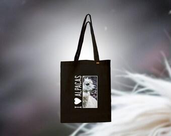 """Black bag 100% cotton """"I love Alpacas"""""""