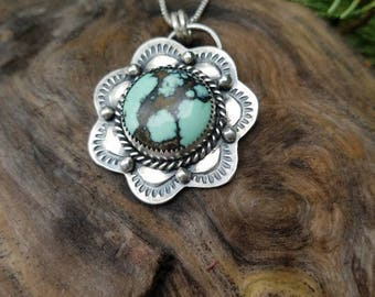 New Lander Turquoise and Sterling Silver Necklace