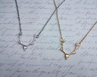 Deer antler necklace in gold or silver