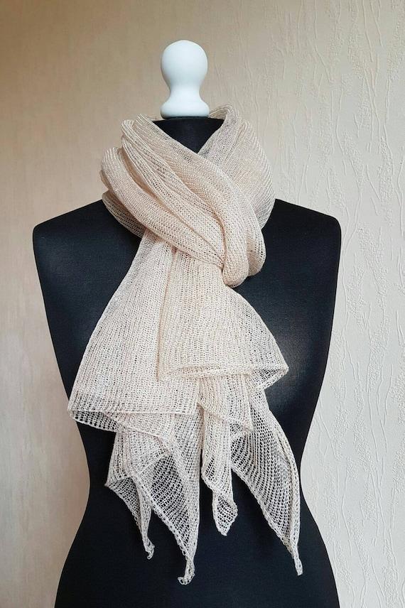 Hecho punto mantón chal de lino bufanda hecha punto