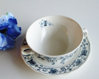 Vintage, Ming Tree Blue, Cream Soup, Soup Cup and Saucer, Two Handled, Blue and White, Chintz,  Double Phoenix, Nikko, Japan, Transferware