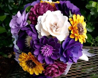 Paper Flower Bouquet - Paper Bouquet - Wedding Bouquet - Purple with Sunflowers Bouquet - Bridal Bouquet - Late Summer - READY TO SHIP